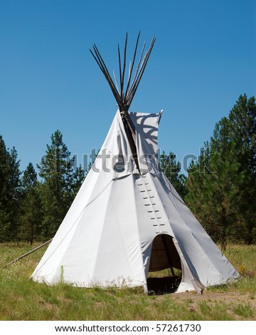 An indian teepee set up in a meadow among pine woods (portrait orientation).