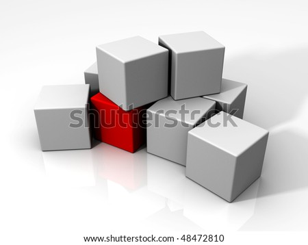 An individual red cube among many white cubes.
