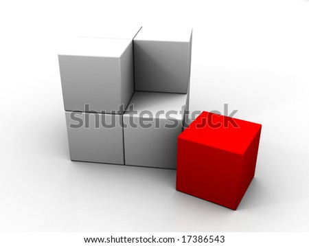An individual red cube to complete a big cube.