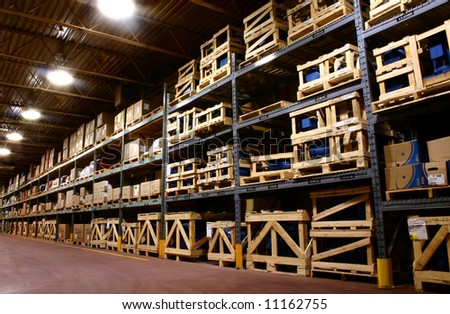 An industrial factory's on site warehouse. - stock photo