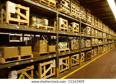 An industrial factory's on-site warehouse. - stock photo