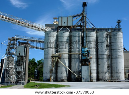 an industrial grain mill or factory - stock photo