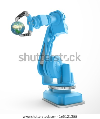 An industrial robot holding a small globe - stock photo