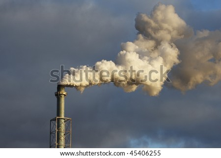 An industrial stack billows smoke into the air.