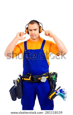 An industrial worker wearing uniform and tools. Job, occupation. Isolated over white.  - stock photo
