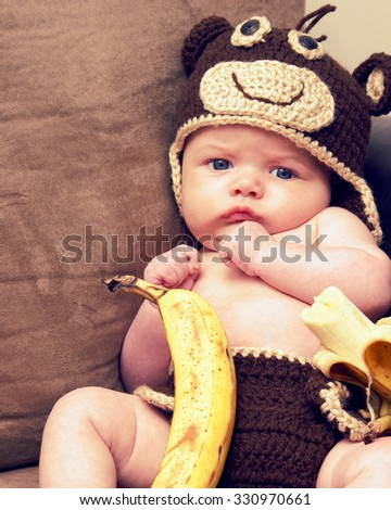 An infant of two months old is propped in a moneky costume with an 8x10 picture format. - stock photo