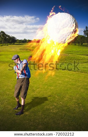 An Inferno Of Fire Follows An Airborne Golf Ball Just After Being Hit By A Golfer Man In A Hot Shot Golfing Concept