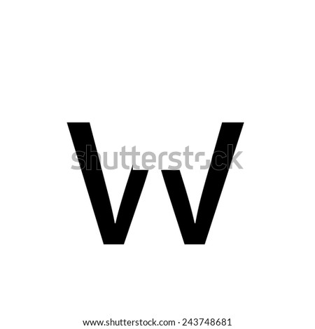 An Inividual Alphabet Characters of a Custom Font - Lowercase W - stock photo