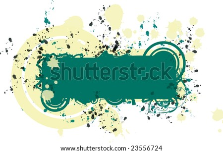 An inkblot background for a name tag in green and yellow