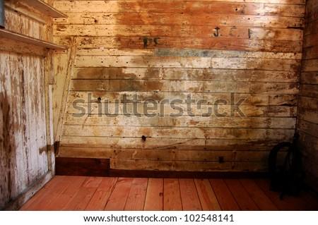 An Inside Room Of A Wooden Barn