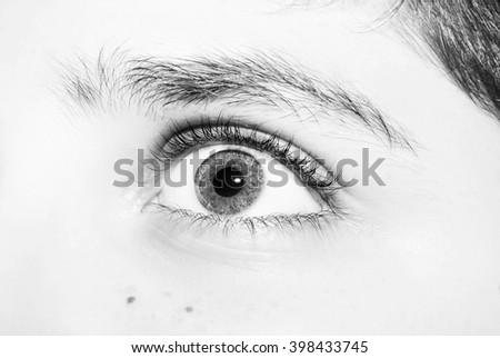 an insightful beautiful look eyes boy - stock photo
