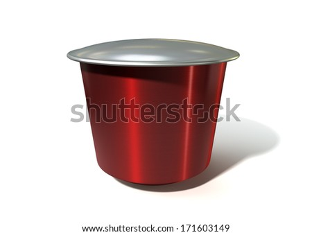 An instant espresso coffee capsules sealed with foil on an isolated white background
