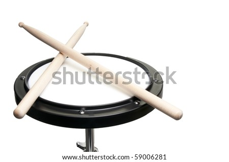 An instructional Drum Practice Pad used for learning drums - stock photo