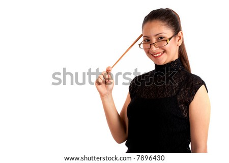 An instructor holding a stick pointing on her head