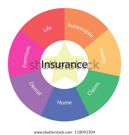 An Insurance circular concept with great terms around the center including life, automobile, premium, dental, home and more with a yellow star in the middle