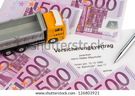an insurance contract for new trucks. with euro money bills - stock photo