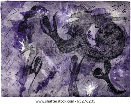 an intaglio print of a perception of heaven with spirits - stock photo