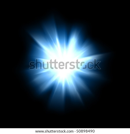 An intense burst of light against a black background.  Overlay silhouette objects on it to customized a background effect. - stock photo