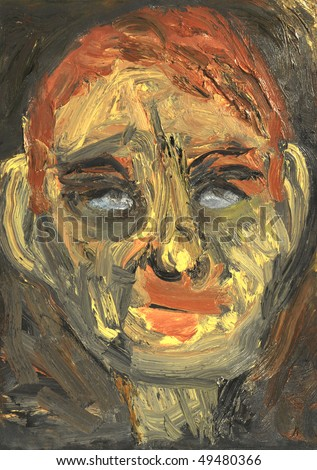 An Interesting Original Figurative Abstract Portrait in Oil - stock photo