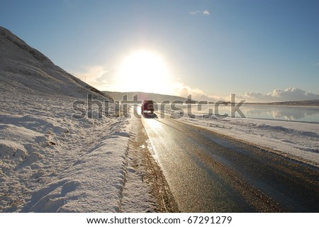 An interesting road and landscape in Harris in winter