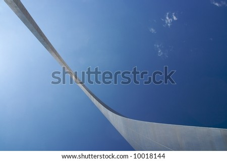 An interesting view of the St. Louis Arch - Gateway to the West - the Jefferson National Expansion Memorial (U.S. National Park Service) - stock photo
