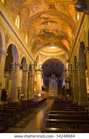 an interior of typical sicilian church