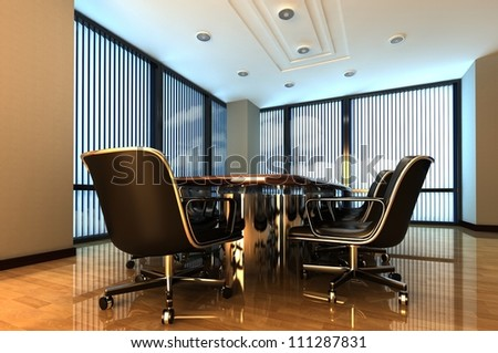 An interior of working cabinet is in an office - stock photo