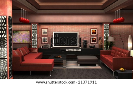 An interior Visualization a living room. - stock photo