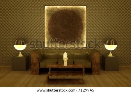 Interior visualization classic art deco revival stock illustration