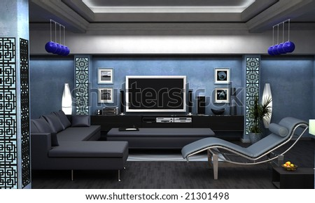 An interior Visualization of an Asian themed living room. - stock photo
