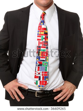 An international business man wearing ties of country flags - stock photo