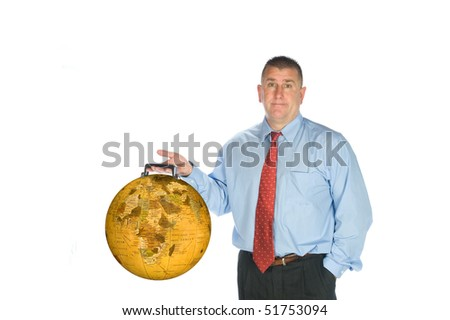 An international businessman holds his world globe briefcase. - stock photo