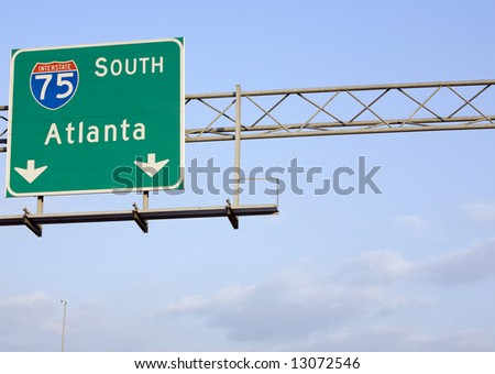 An Interstate 75 South sign just outside of Atlanta, Georgia. - stock photo