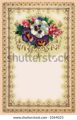 An intricate Victorian floral stationary design and illustration - circa 1878 (1 of 3 in a series) - stock photo
