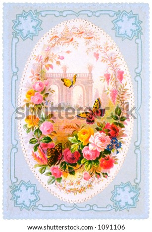 An intricate vintage floral Mother's Day card illustration (embossed) - circa 1879 - stock photo
