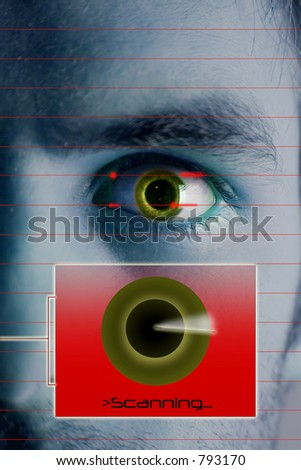 An iris scan concept image of a male with a few days beard growth. - stock photo