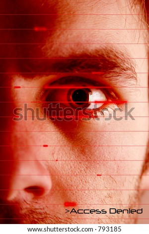An iris scan concept image of a male with a few days beard growth (in techno red color) with the words 'Access Denied' - stock photo