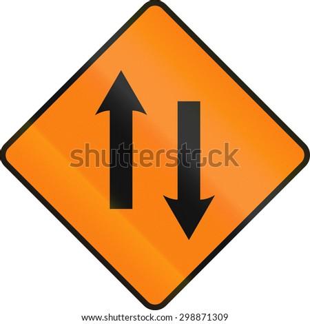 An Irish temporary road sign - Two lane area ahead - stock photo