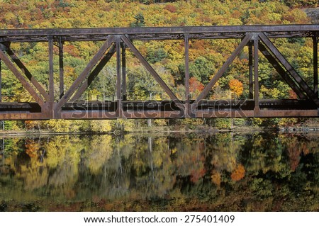 An iron bridge in Brattleboro, Vermont - stock photo
