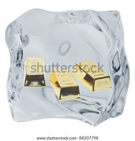 An irregularly shaped ice cube is released on a white background. - stock photo