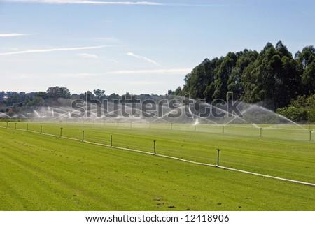 An irrigation system on a turf farm, near Windsor, New South Wales, Australia - stock photo