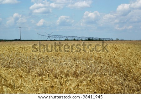 An irrigation system running over a wheat field. Selective focus. Shallow DOF. - stock photo
