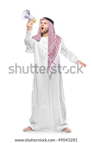 An irritated arab person screaming on a megaphone isolated on white background - stock photo