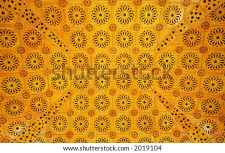 An Islamic pattern used on a ceiling of a mosque, 2006. - stock photo