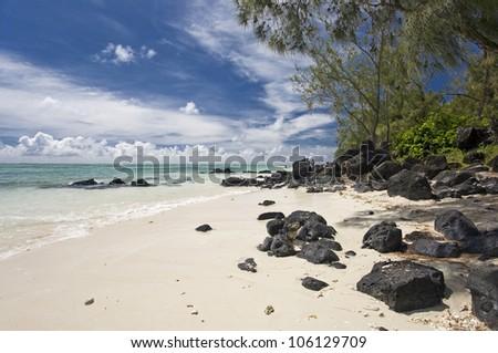 an island of Mauritius, beautiful beach, Mauritius - stock photo