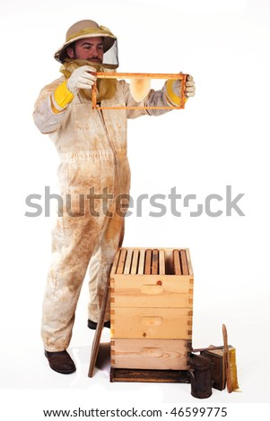 an isolated beekeeper holding up a frame with new honeycomb on it