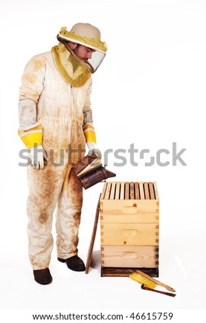 an isolated beekeeper in protection gear smoking a hive - stock photo