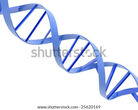 An isolated blue dna molecule on white background - stock photo