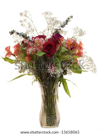 An isolated bouquet of roses in a vase - stock photo