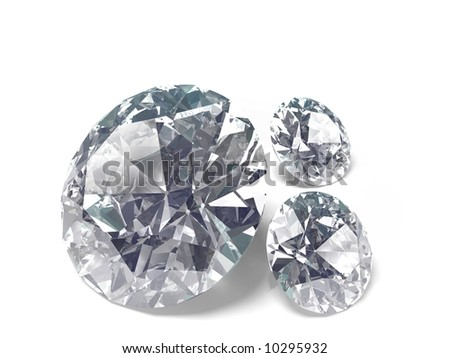 An isolated brilliant cut diamonds on wite background - stock photo